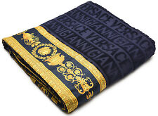 Gianni Versace Unisex Large Throw Bath Towel Medusa Head Barocco Navy Blue