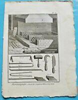1784 Estampe Eau Forte Monnoyage gravure Recuit de l'Argent & Billon Les Outils