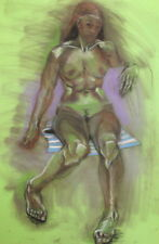 Expressionism Nude Woman Portrait Large Pastel Painting