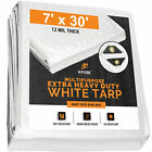 Heavy Duty 12 Mil White Poly Tarp 7' x 30' Multipurpose Protective Cover