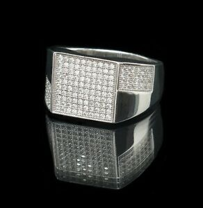 Men's Signet lab Diamonds 925 Sterling silver Ring 10.5U Rhodium pl Russian Cool