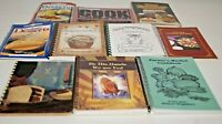 Lot of 10 Vintage Spiral Bound Cookbooks Diabetic Men Grilling Church Chinese