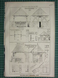 1877 DATED ARCHITECTURAL PRINT ~ DESIGN FOR LYCH GATE IN OAK ELEVATION SECTIONAL