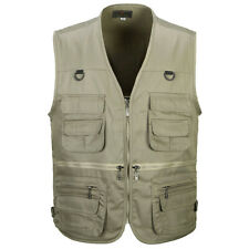 Men Sleeveless Multi-Pocket Waistcoat Safari Gilet Jacket Fish Vest Outdoor Work