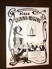 Pubblicità d'Epoca per Collezionisti del 1908 L'Acqua Chinina Migone Milano