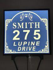 Reflective Blue & White Vintage Top Yard Address Sign | Yard Sign | House