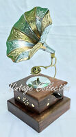 """9"""" Vintage Antique Brass Gramophone Phonograph Collectible Home Decorative"""