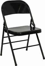LOT of 50 NEW METAL HEAVY DUTY  FOLDING CHAIRS  BLACK Triple Braced/Quad Hinged