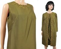 Vintage 60s Dress Coat Set Sz M Olive Green Wool Yellow Brown Embroidery Jacket
