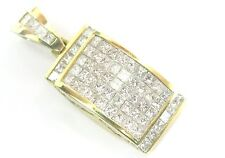 18Kt Princess & Round Cut Diamond Cluster Invisible Setting Pendant 3.60CT G-H