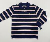 New with tag NWT Boys RALPH LAUREN Navy Blue Pink White Long Sleeve POLO Shirt 5