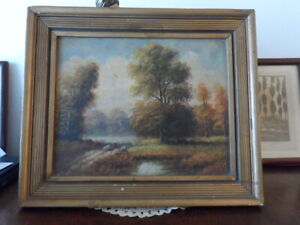 OLD 19TH ANTIQUE OIL PAINTING OF A LANDSCAPE SIGNED