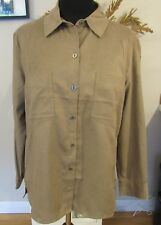 Chico's NWT Shirt-Size 1-Suede Cloth, Driftwood Color, Long Sleeve, 2 Pockets
