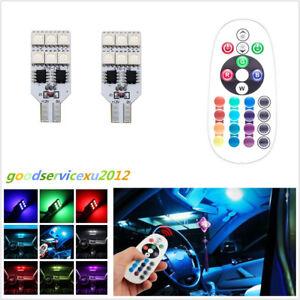 2 Sets Multi-Color LED T10 5050 SMD Car Panel Reading Ambient Lights Decor Lamps