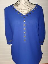 41 Hawthorn Women's Blue Nail Head Trim V-Neck 3/4 Sleeve Blouse Size Small
