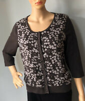 Minuet Petite Womens Silk Panel Floral Cardigan U.K. Size 14 Chocolate Brown Exc