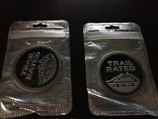 2 PACK Jeep Trail Rated 4X4 Emblem Badge Custom Logo Pair Black Liberty Wrangler