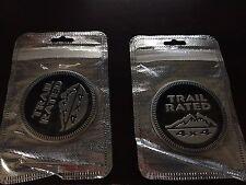 2 PACK Jeep Trail Rated 4X4 Emblem Badge Custom Logo Pair Black Liberty Wrangler