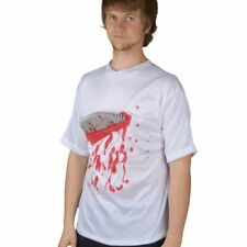 BLOODY SHIRT WITH BUZZ SAW WEAPON HORROR HALLOWEEN NOVELTY GAG COSTUME PARTY