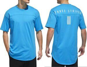 "Adidas ""Three Stripes"" Herren Oversize T-Shirt Modern Club Style Logo hell blau"
