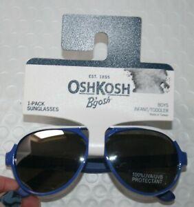 New OshKosh Boys Sunglasses 1 2 yr 0-24m 100% UVA-UVB Blue w White Mirror Lens