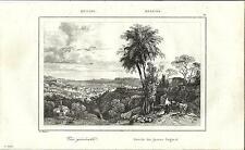 Stampa antica MESSINA veduta panoramica Sicilia 1835 Old antique print