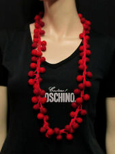 F128 Handmade wool Red Felted Ball Hippie Boho Fashionable Bead Necklace Jewelry
