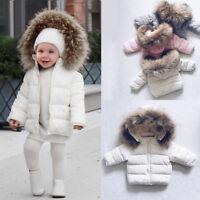 Toddler Kids Baby Boys Girls Winter Warm Faux Fur Hooded Jacket Coat Outwear