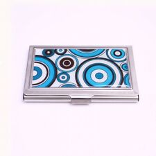 ID Case Blue Retro Circles Stainless Steel from Casa D'oro Money Holder Wallet