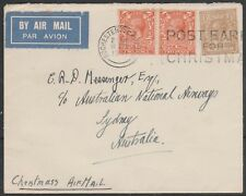 1831 GEORGE V 1s4d RATE CHRISTMAS AIR MAIL COVER LONDON TO AUSTRALIA