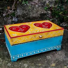 Valentine Love Heart Hand Made Painted Wood Box Fair Trade Mehendi Embossed Gift