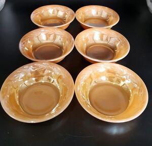 Fire King Peach Lustre Laurel Leaf desert or Berry Bowls