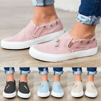 Womens Denim Canvas Flat Loafers Pumps Ladies Casual Slip On Sneakers Shoes US