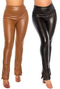 Bootcut-Hose mit Schlitz am Bein in Lederoptik, Damenhose Damen Leder-Look
