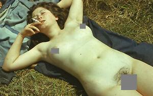 Vintage diapositive -  Nude woman smoking -  - 1970/80s