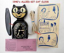 40s ANTIQUE ALLIED-ELECTRIC ORIGINAL KIT CAT KLOCK-KAT CLOCK-VINTAGE-WORKS GREAT