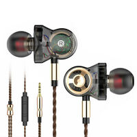 6 Driver Headphones 3.5mm HIFI Monitor Earphones Heavy Bass Headset Earbuds Mic