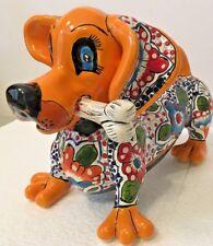 Talavera Dog w/Bone Dachshund Mexican Puppy Ceramic Pottery Folk Art Figure