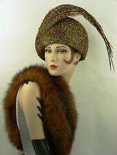 Vintage Chapeau Jack McConnell Faisan FEATHER femme chapeau avec de longues plumes, RF ORIG