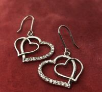 Vintage Sterling Silver Earrings 925 ATI Heart CZ Drop Dangle