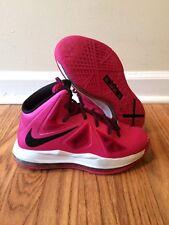 Nike LeBron 10 X GS Fireberry Pink Black White 543564-600 Size 4Y