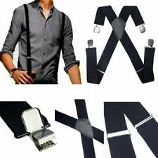Mens Heavy Duty Suspenders Adjustable Clip On Work Braces Wide Solid Color AU~`