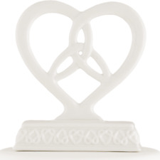 Heart Framed Trinity Knot Wedding Cake Topper - Glazed Porcelain - Free Shipping