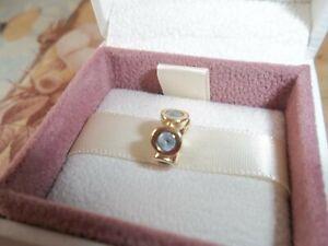 Genuine Authentic Pandora 14ct Gold Aquamarine Spacer Charm 750295AQ  585 ALE