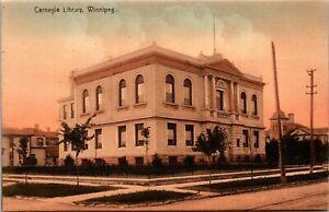 Postcard MB Winnipeg Carnegie Library Streetcar Tracks ~1910 M65