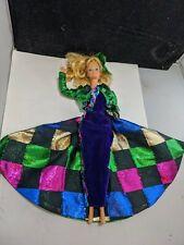 VINTAGE Barbie DOLL Superstar era with  velvet blue green checkered dress htf