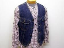 Mens Vintage LEE STORM RIDERS Sherpa Lined Denim Jean VEST Jacket USA - small