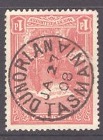 Tasmania nice 1908 DUNORLAN postmark (type 1) on 1d pictorial rated Common (2)
