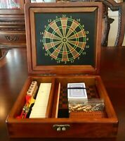 Vintage Mid Century Wooden Travel Multi Game Set Too Many games to mention