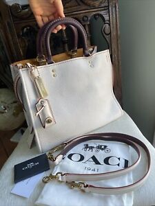 Coach 1941 Glovetanned Pebble Leather Rogue Bag F38124 Chalk White $795 New